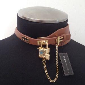 BCBGMAXAZRIA BCBG Choker Collar Necklace Gold Lock